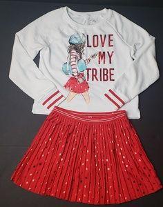 Justice Girls Sweatshirt and Pleated Skirt